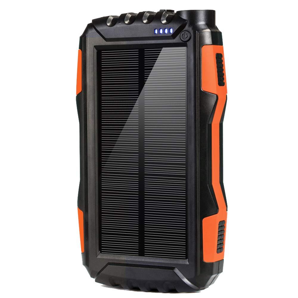 DEVEL Solar Phone Charger, Solar Power Bank, 25000 mAh Portable Backup Battery Pack Power Bank Solar Battery Charger Dual Usb Waterproof 2 Led Light (Orange_25000mAh) by DEVEL