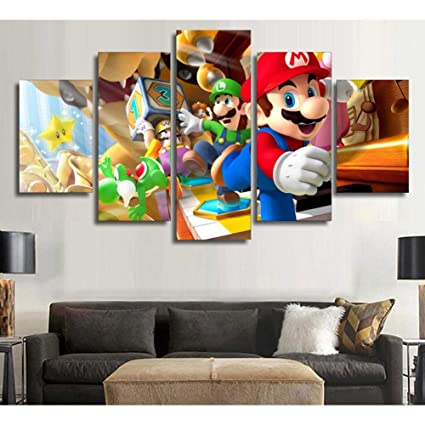 JSBVM Canvas Painting Wall Art HD Print Super Mario Bros Pictures 5 Panel Poster Home Decor