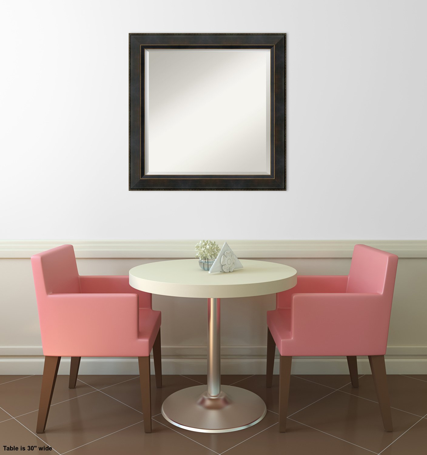 Wall Mirror Signore Square, Signore Bronze Wood: Outer Size 24 x 24'' by Amanti Art (Image #5)