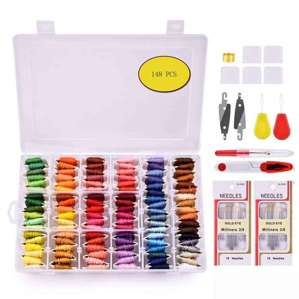 Embroidery Floss Thread with Organizer Storage Box - AFDEAL Friendship Bracelets String Floss Crafts Floss with Number Needles, Thread Ripper (108 Colors)