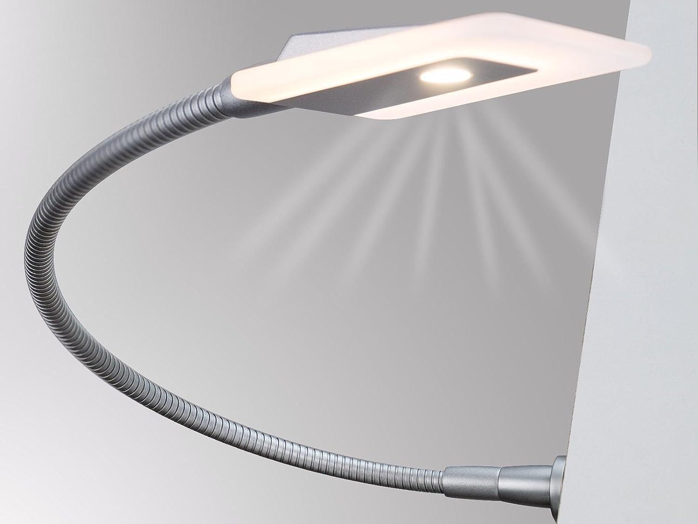 LED Bettleuchte Leseleuchte Flexleuchte Nachttischlampe Leselampe Nachtlicht, Modell 1er SET silbergrau