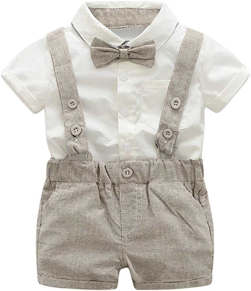 Pageantry Bodysuit Baby Jungen 2 St/ücke Taufe Anz/üge Bowtie Shirt Top Hosentr/äger Strap Shorts Formale Kinder Party Outfit Gentleman Kleidung Sets Kurzarm Outfits