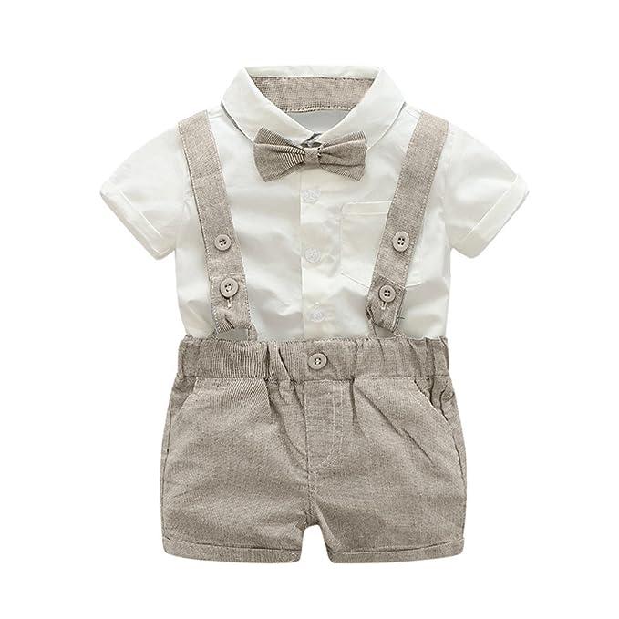 Traje de Ropa Bebé Niñas Niños❤️️Lonshell Conjuntos de Blusa + Correa Pantalones + Pajarita