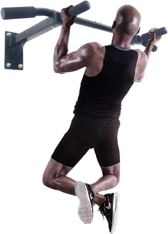 ISE Barra de Dominadas de Pared, Barra Fija Multifuncional para Flexiones, Pull Up Workout Bar for Home Gym Fitness, Entrenador de Parte Superior del Cuerpo para Gimnasio en Hogar, Máx. 200kg, SY-165