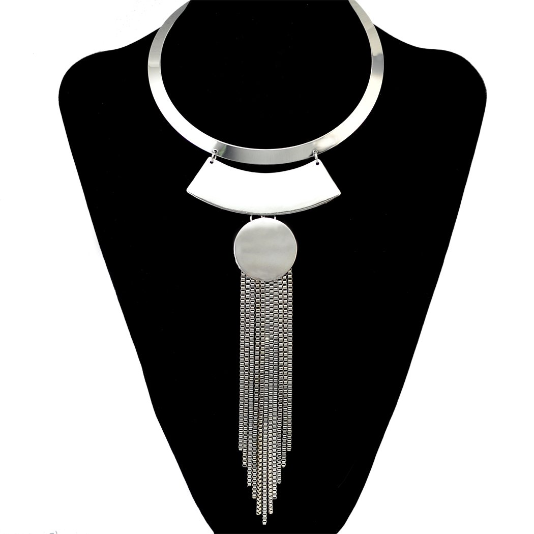 Fashion Gold Silver Necklace Choker Bib Collar Long Box Chain Tassel Pendant Geometric Necklaces (Silver)