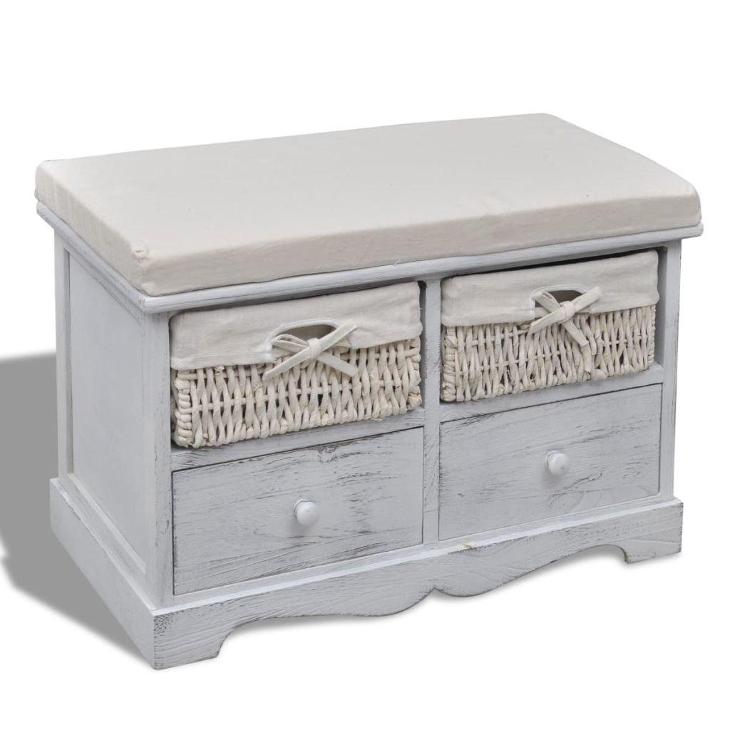 vidaXL Panchina Panca stoccaggio in legno bianco 2 cesti 2 cassetti con cuscino