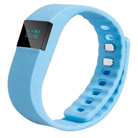 Reloj Bluetooth,Xinan Muñeca Deportes Venda Control Actividad Inteligente Reloj Podómetro (Azul Claro)