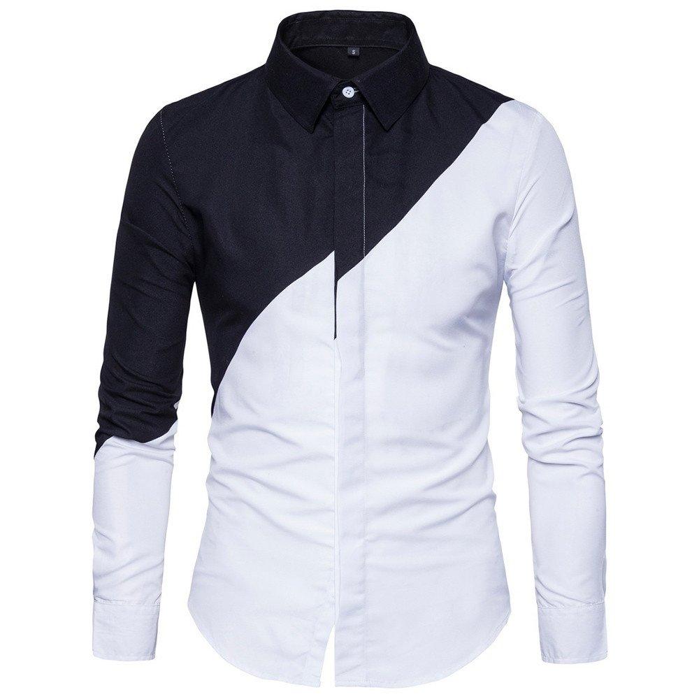 Trajes Ocasionales Formales Oxford de la Manga Larga para Hombre Camisas de Vestir Ajustadas de la Camiseta de la Blusa por Internet por Internet: ...