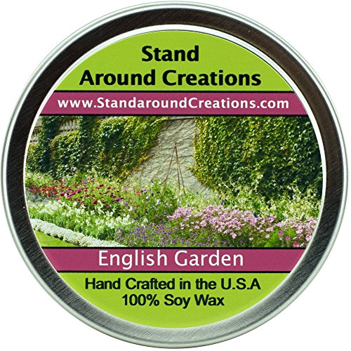 - Premium 100% All Natural Soy Wax Aromatherapy Candle - 4oz Tin - English Garden: Bursting with every imaginable floral note, this fragrance brings the beauty and splendor of an 18th century English Garden into any home. Notes of lily, lilac, rose & hyacinth stand out in this must have fragrance for floral lovers. Made with natural essential oils.