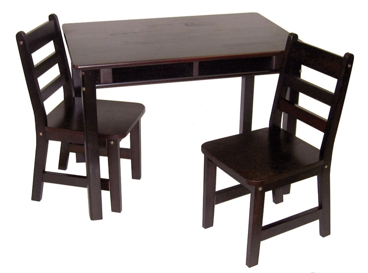 Lipper International 534E Child's Rectangular Table with Shelves and 2 Chairs, Espresso Finish