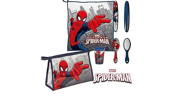 Spiderman Set neceser para niño de 5 piezas, estuche escolar, toalla, escobilla, soporte para cepillo de dientes, vaso by Valery: Amazon.es: Bebé