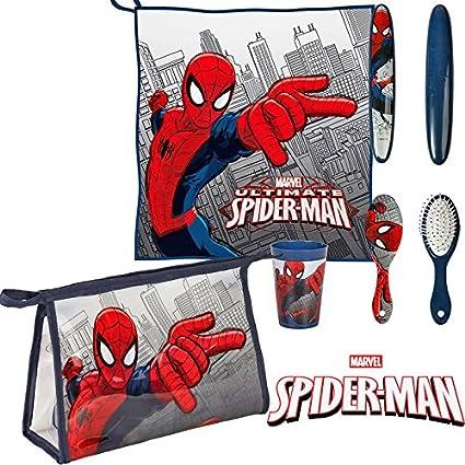 Spiderman Set neceser para niño de 5 piezas, estuche escolar, toalla, escobilla,