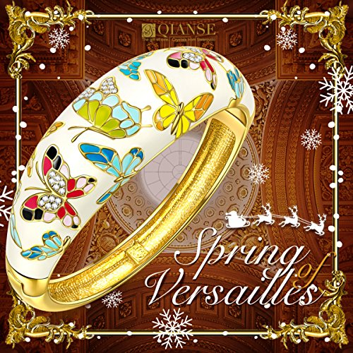 QIANSE Spring of Versailles Yellow Gold Bangle Bracelets Enamel Butterfly Bangles for Women Jewelry for Women Birthday Gifts for Mom Girlfriend Daughter Grandma Mother in Law Present by QIANSE (Image #4)