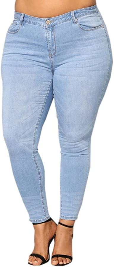 Womens Plus Size Jeans Straight Leg Stretch Denim Ladies Plain Trousers Pants