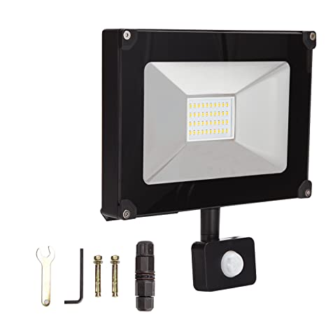 ALOTOA 30W PIR LED Foco Exterior, Blanco Natural 4000K 3000lm, 150W Equivalente halogeno LED