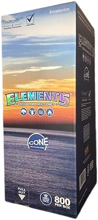 Elements King Size - Cono de Papel de Liar – 800 Conos por Caja – Paquete a Granel – Papel de arroz Ultra Fino: Amazon.es: Hogar