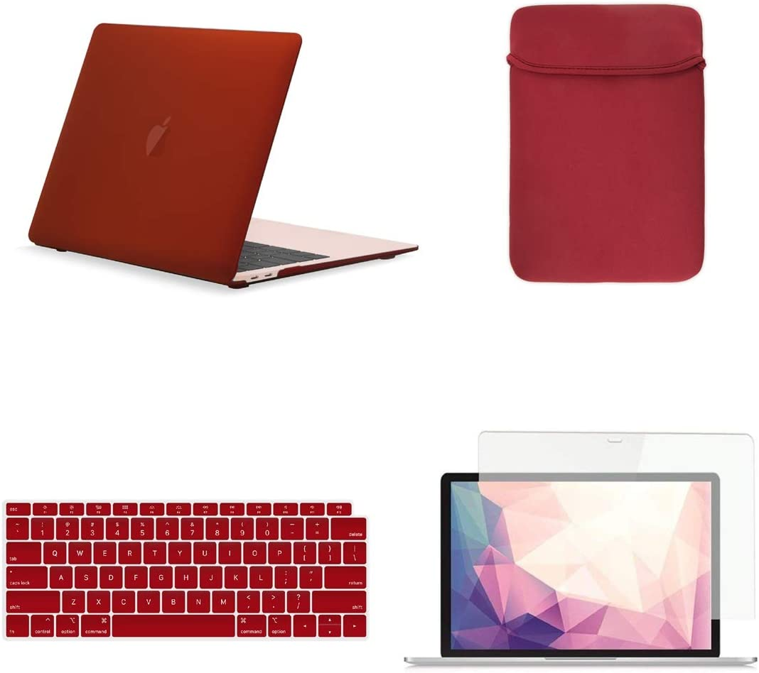 TOP CASE MacBook Air 13 Inch Case A1932/A2179 with Retina Display fits Touch ID 2020 2019 2018 Release, 4 in 1 Bundle Rubberized Hard Case, Keyboard Cover, Sleeve, Screen Protector - Wine Red