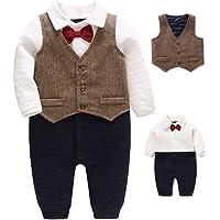 Feidoog Newborn Baby Boys Gentleman One Piece Long Sleeve Gentleman Formal Outfit