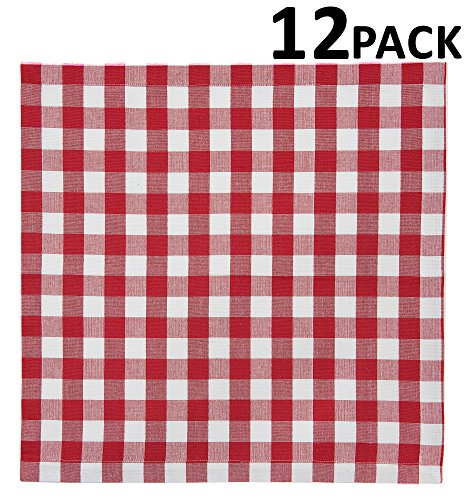 Cotton Craft 12 Pack Gingham Checks Oversized Dinner Napkins - Red - Size 20x20-100% Cotton - Tailored with mitered corners and a generous hem - Easy care machine wash by Cotton Craft (Image #1)