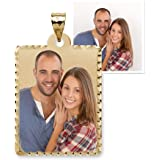 PicturesOnGold.com Petite Rectangle w/Diamond Cut Edge Photo Pendant Charm 1/2 Inch x 3/4 Inch - Solid 10K Yellow Gold