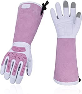Vgo 2Pairs Premium Geniune Goat Leather Extra-Long Cuff Thornproof,Anti-Abrasion,Anti-Impact Gardening Gloves (Size M,White,GA9659)