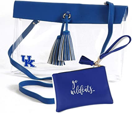 Desden Kentucky Wildcats Clear Handbag and Wristlet Combo with Logo Vegan Leather Trim and Tassels