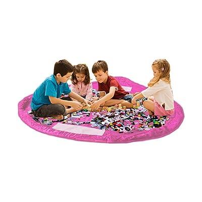 Bolsa de almacenamiento de juguetes para Lego, Bolsas de organizador, Alfombra de juego para niños - Organizador portátil de juguetes para niños (Pink): Bebé