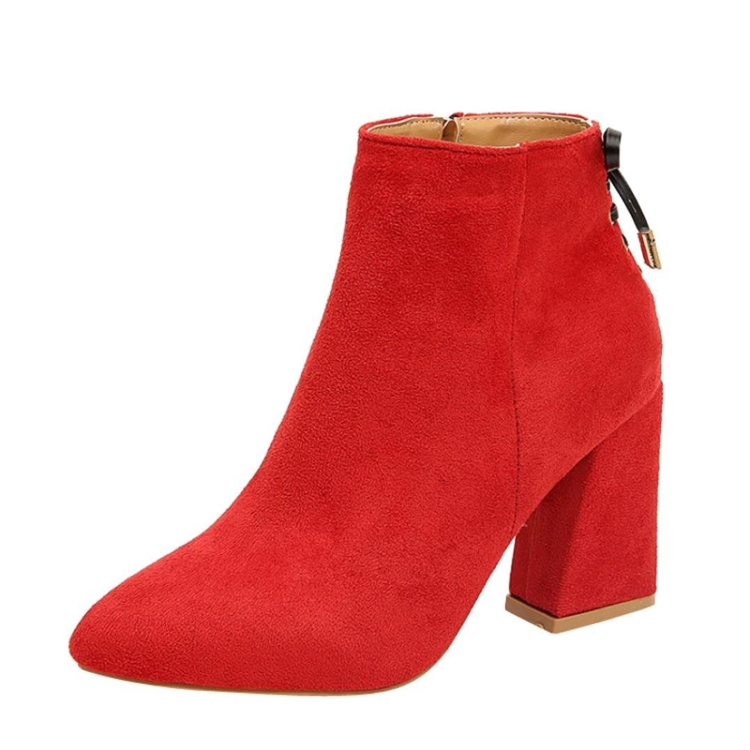 Womens Wedges Booties 5.5-7.5,Classic Thick Bottom Ankle Boots with Zipper (Red, US:7.5)