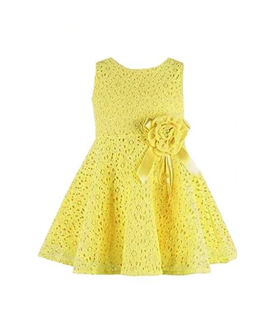 YiJee Niñas Cordón Lleno Floral Vestidos Princesa Sin Mangas Vestido de Fiesta Amarillo 6