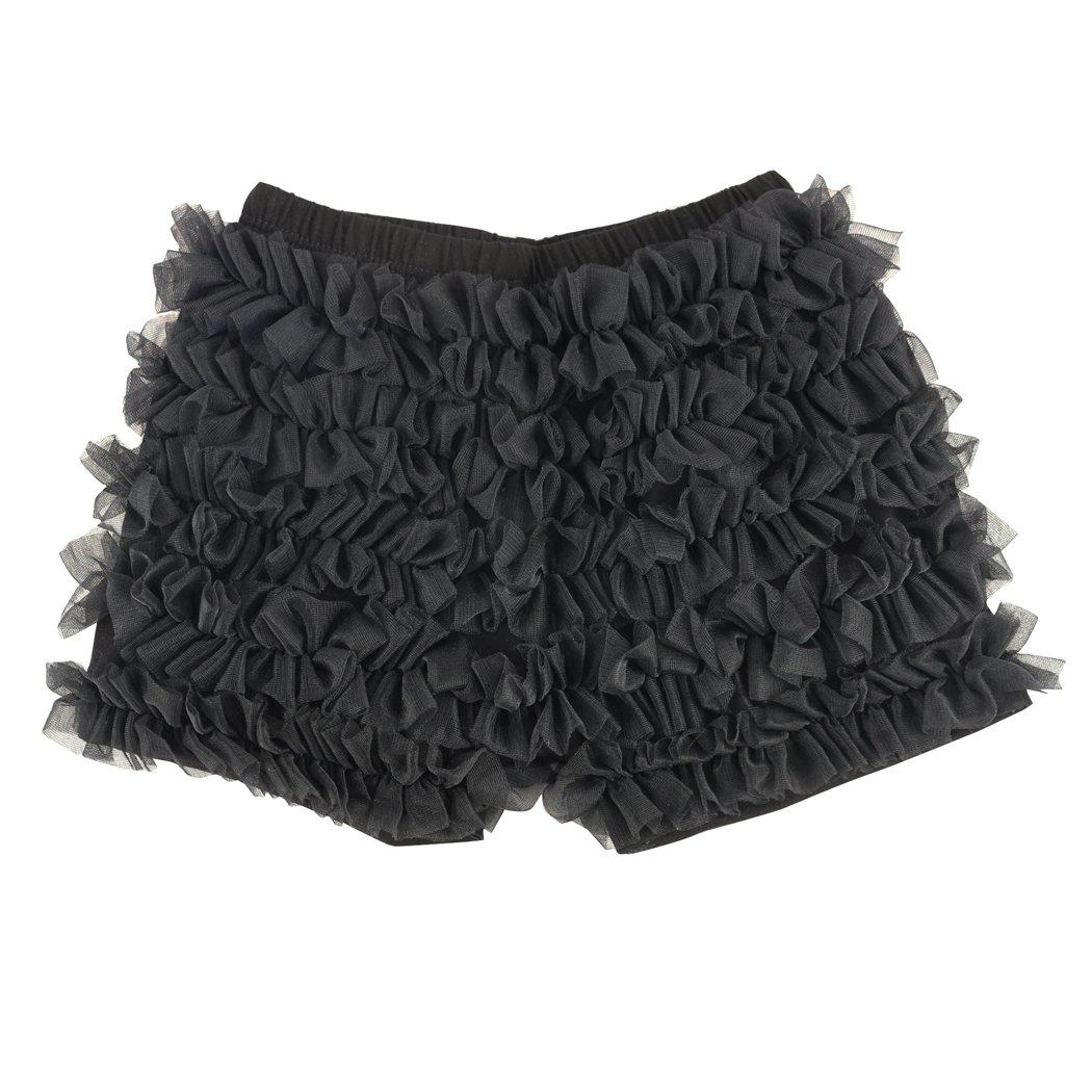 Wennikids Kids Baby Toddler Girls Chiffon Ruffles Shorts Short Pants 1-9T XX-Large Black