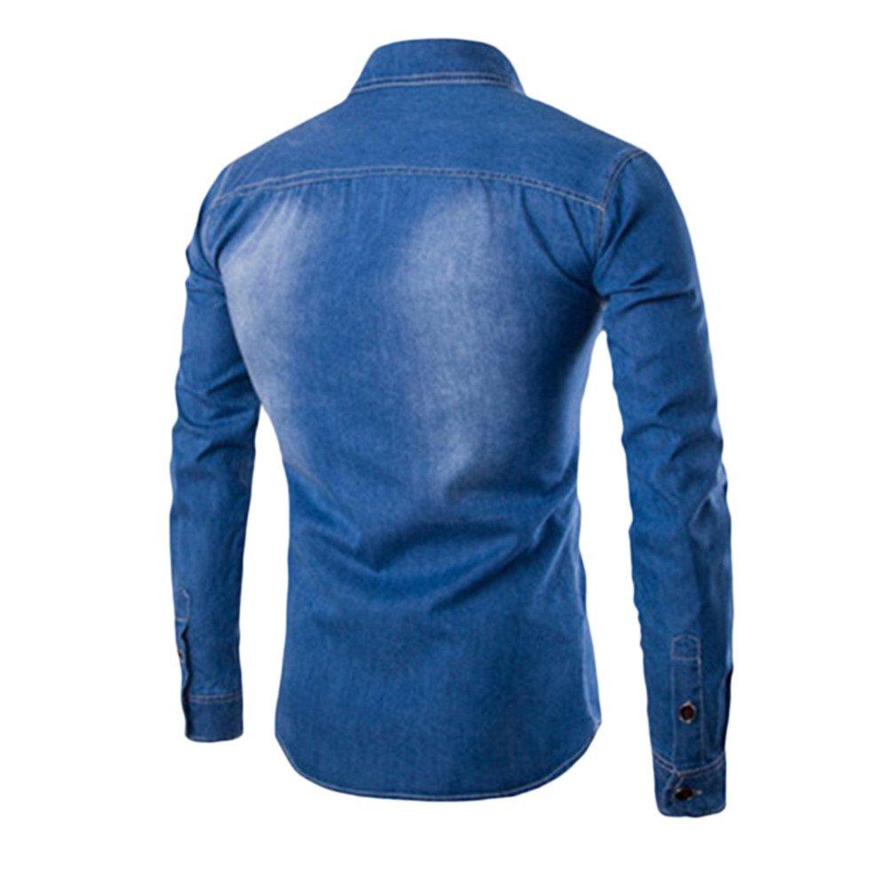 CMrtew ❤️Fashion Mens Autumn Casual Fashion Slim Fit Denim Cotton Long Sleeve Shirt Turn-Down CollarTop Blouse
