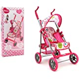 Globo Toys–37373 passeggino giocattolo in metallo con parasole, 68cm