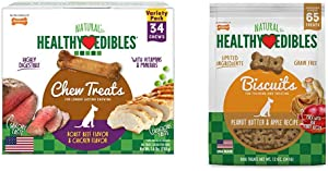 Nylabone Healthy Edibles Dog Chew Treats Variety Pack, Roast Beef & Chicken Petite 34 Count & Nylabone Healthy Edibles Dog Treat Biscuits Peanut Butter & Apple Bundle