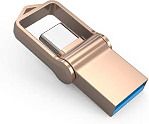 Type C Flash Drive 32GB, KALSAN 32GB 2 in 1 OTG Type C+ USB 3.0 Dual Drive Waterproof Memory Stick with Keychain Metal-Gold Color