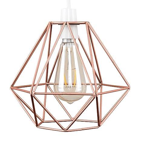 MiniSun - Pantalla geométrica para lámpara de techo, de estilo cesta de cobre Nueva York