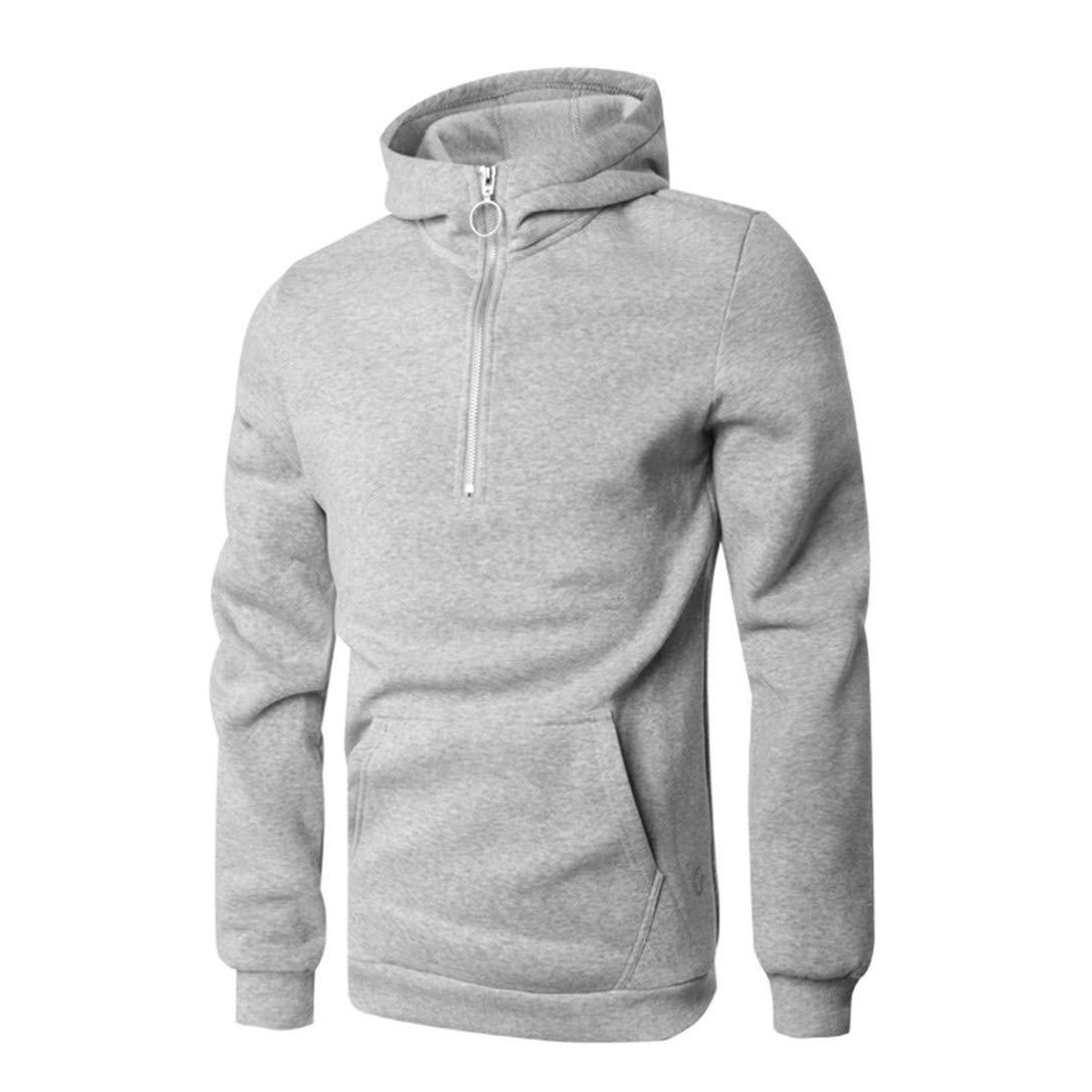 FRCOLT Winter Men's Pure Color O-Ring Zipper Long Sleeve Leisure Sweatshirt Hoodies