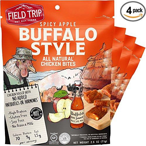 Field Trip Gluten Free, High Protein Chicken Bites 2.5oz Bites Bag, Spicy Buffalo Style, 4 Count