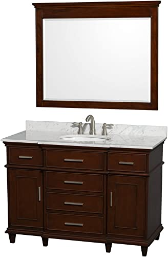 Wyndham Collection Berkeley 48 inch Single Bathroom Vanity in Dark Chestnut with White Carrara Marble Top with White Undermount Oval Sink and 44 inch Mirror