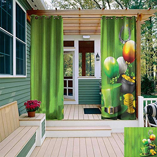 leinuoyi St. Patricks Day, Outdoor Curtain Waterproof, Wood Design with Shamrock Lucky Clovers Pot of Gold Coins and Horse Shoe, for Gazebo W72 x L108 Inch Fern Green