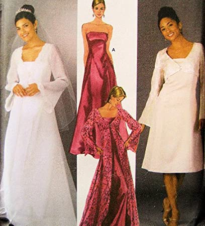 Amazon.com: Simplicity 5246 Wedding Gown Pattern Womens, Coat with ...