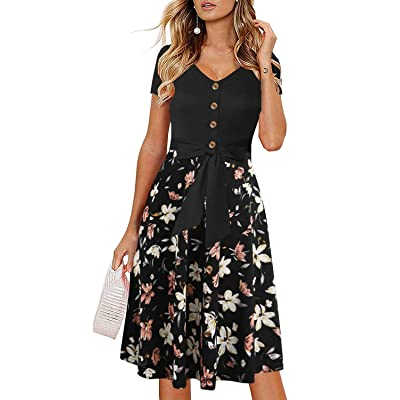Drimmaks Women's Casual Aline Dress Short Sleeves Buttons Down Bowknot Polka Dot Contrast Midi Swing Party Dress at Women's Clothing store