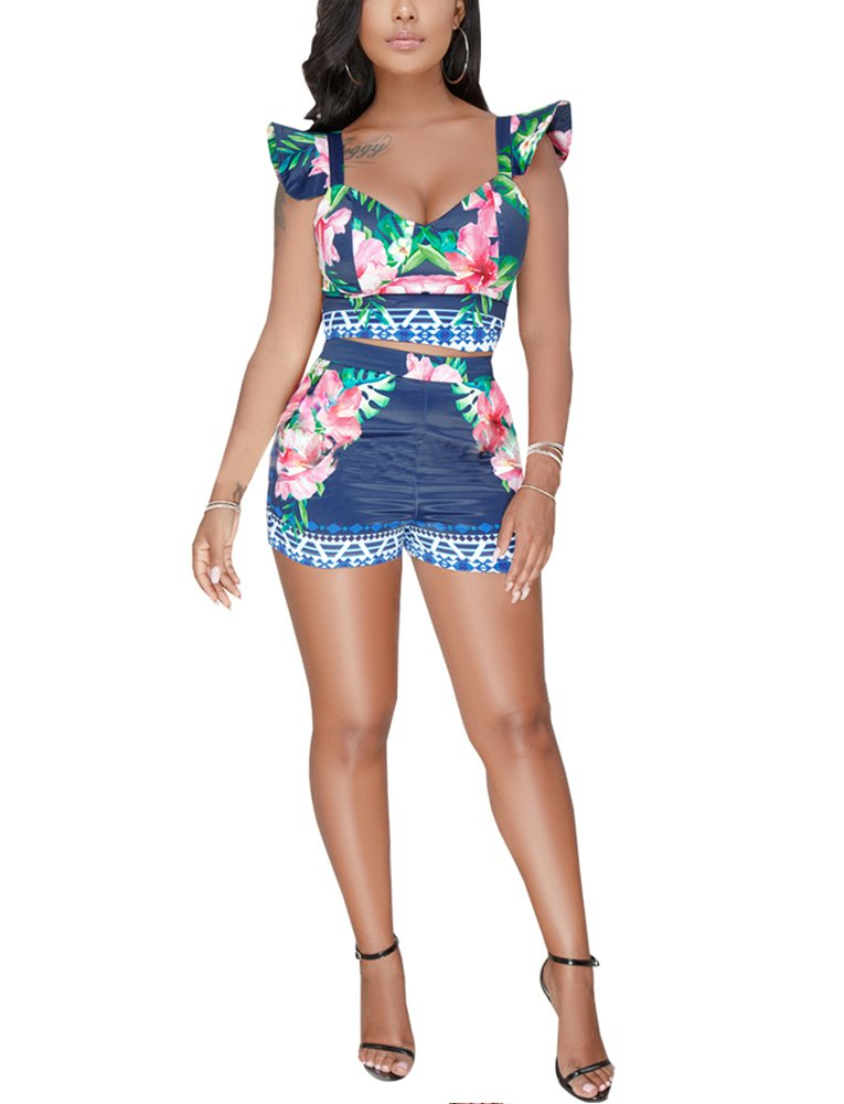 Women's Floral Print Patchwork 2 Pieces Outfits Ruffle Shoulder Sleeveless Vest Crop Top + Skinny Shorts Deep Blue
