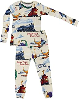 product image for Books to Bed Boys Pajamas Steam Train Dream Train - Dinosaur Pajamas and Animal PJs Set for Toddler, Big Boys