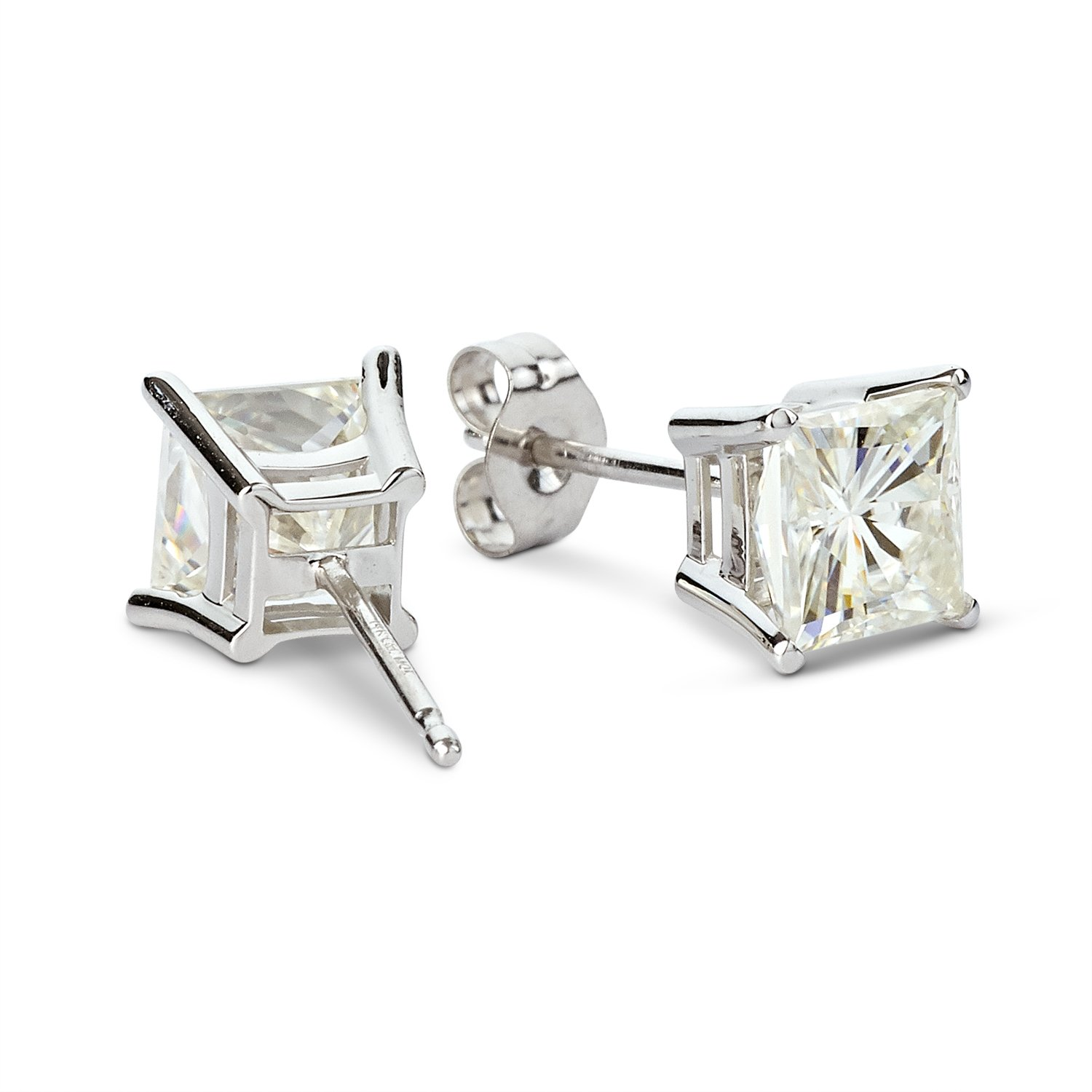 Forever Classic 5.5mm Square Moissanite Stud Earrings, 2.00cttw DEW by Charles Colvard