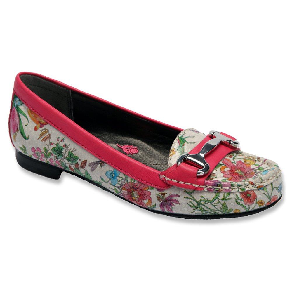 Ros Hommerson Women's Regina Moc Toe Casual Loafers B00UW6FUPC 5.5 B(M) US|Floral Leather / Fuschia Trim