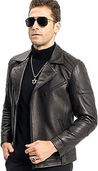 LINAILIN Genuine Leather Jacket Men Short Style Sheepskin Moto/&Biker Coat Slim Casual Jacket