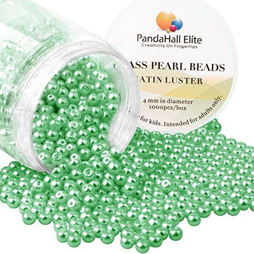 PandaHall Elite About 1000 Pcs 4mm Tiny Satin Luster Glass Pearl Bead Round Loose Spacer Beads for Jewelry Making Green ()