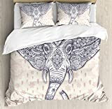 Elephant Mandala Duvet Cover Set by Ambesonne, Bohemian Elephant Paisley Vintage Ethnic Design Holy Animal, 3 Piece Bedding Set with Pillow Shams, Queen / Full, Light Pink and Purple