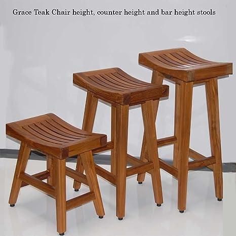 Amazon.com: Grace Teak Counter height bar stool bar chair for ...