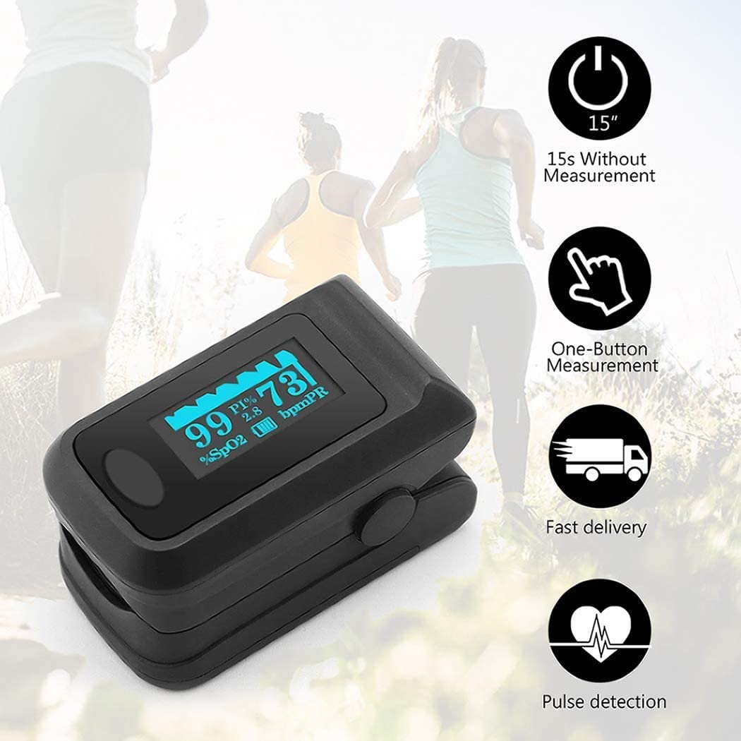Fingertip Pulse Oximeter Oxygen Saturation Monitor Blood Pressure Finger Monitor Saturation Measurement with OLED Display Portable SpO2 PR Monitor